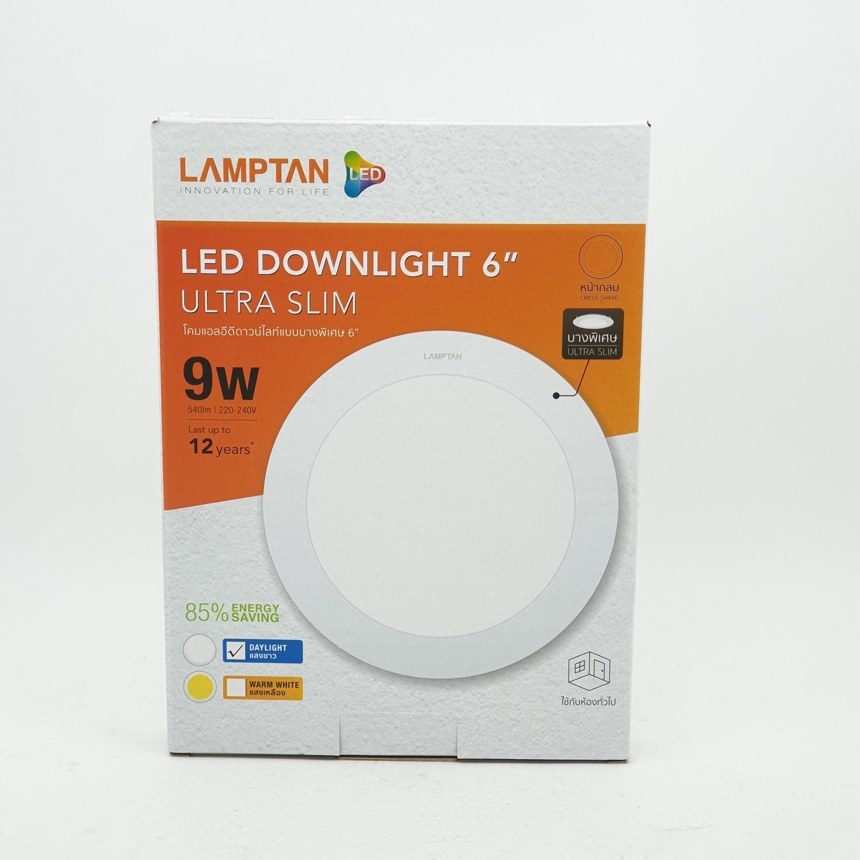 LAMPTAN โคม LED Circle 9w แสงเดย์ไลท์ Downlight ultra slim สีขาว