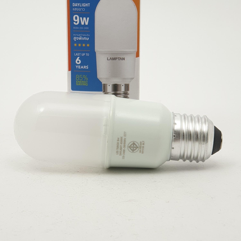 LAMPTAN หลอดไฟ ทรงกระบอก LED 9W แสงเดย์ไลท์ รุ่นทอร์ช E27  P.10 สีขาว