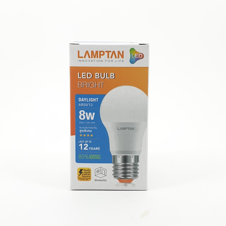 LAMPTAN หลอดไฟแอลอีดีบับ ไบรท์ 8 วัตต์ แสงเดย์ไลท์ Bright สีขาว