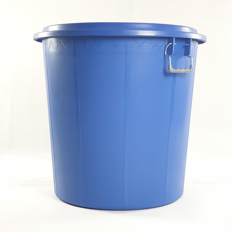 BIGONE ถังพร้อมฝา ขนาดบรรจุ 160 ลิตร ทรงอ้วน สีน้ำเงิน