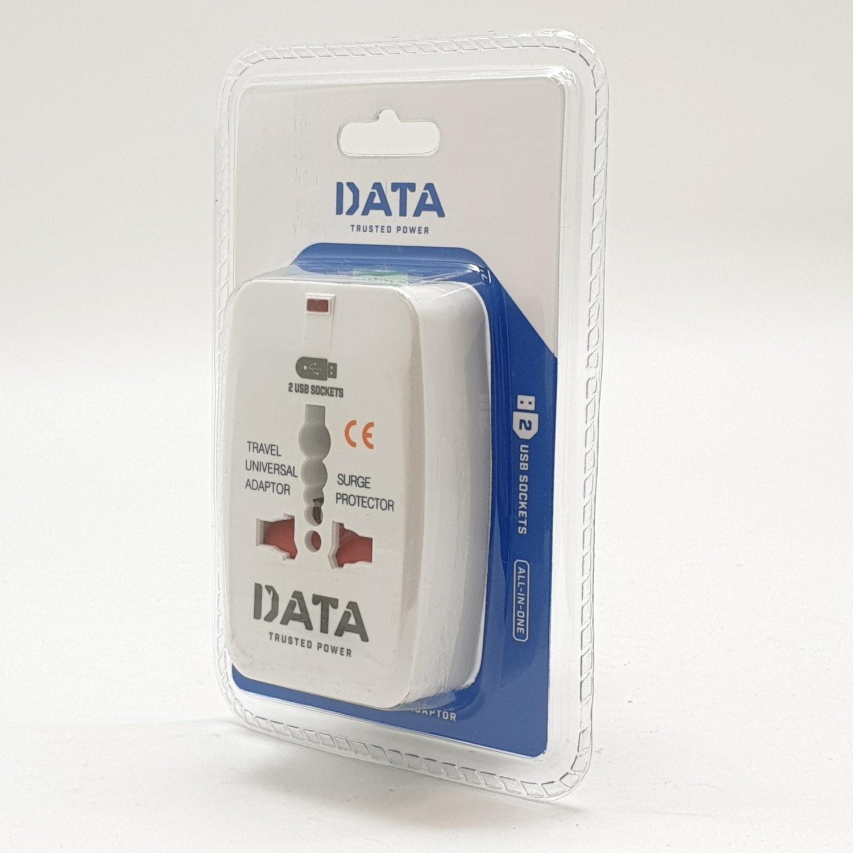 DATA ปลั๊กเอนกประสงค์ 1 ช่อง 2USB ขาเสียบ 3 แบบ DP1USB สีขาว