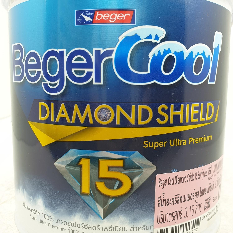 Beger สีน้ำอะครีลิคเบเยอร์คูล ไดมอนด์ชิลด์ 15 ปี ชนิดกึ่งเงา เบส D กล. สีขาว