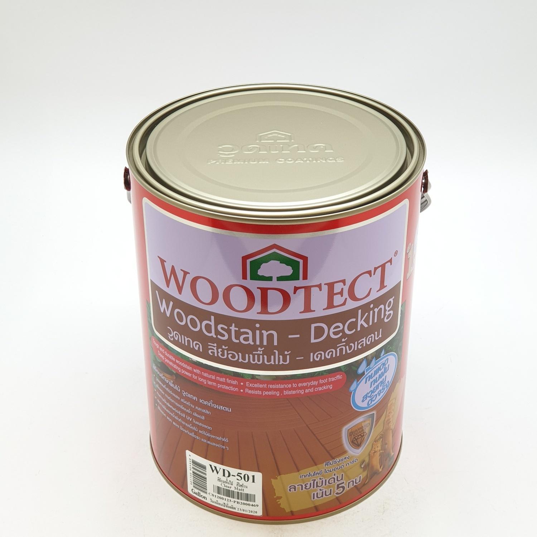 WOODTECT วูดเทค เดคกิ้งเสตน สีย้อมพื้นไม้ สูตรน้ำมัน (ชนิดด้าน) (กล.) WD-501 สีใสด้าน