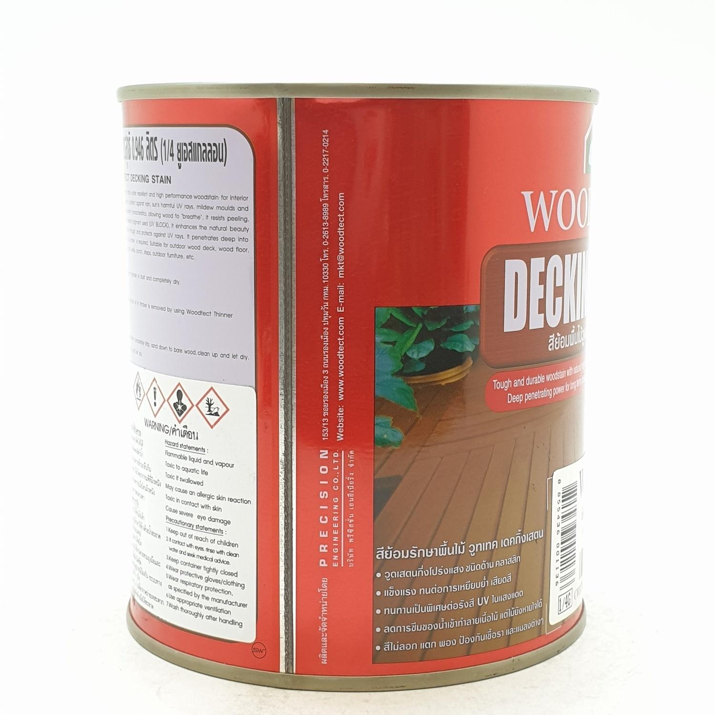 WOODTECT วูดเทค เดคกิ้งเสตน สีย้อมพื้นไม้ สูตรน้ำมัน (ชนิดด้าน) (กป.) WD-502 สีไม้สัก