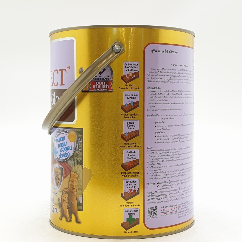 WOODTECT วูดเทค สีย้อมไม้ สูตรน้ำมัน (ชนิดเงา) (กล.) WG-104 สีไม้มะค่า