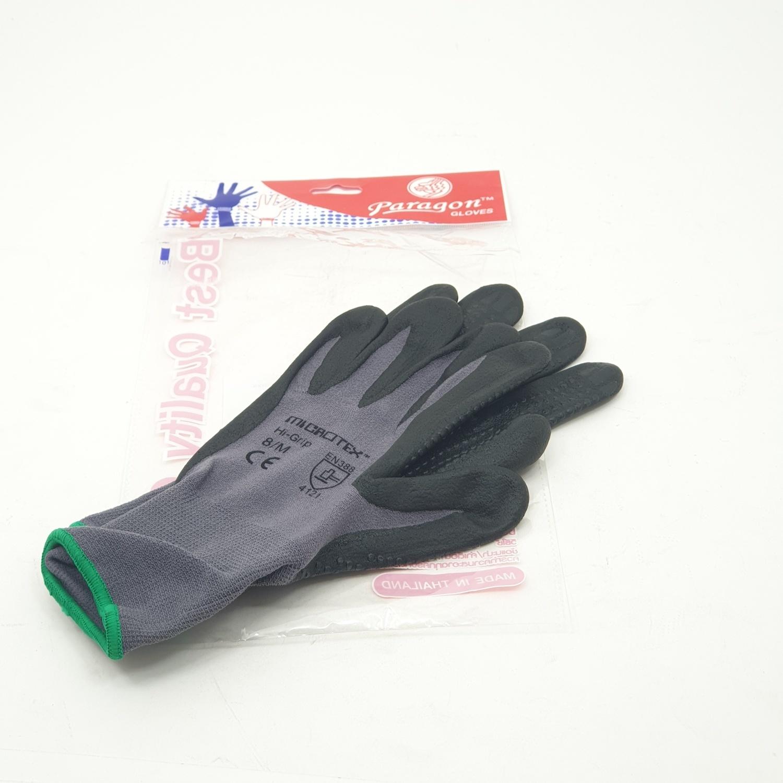 PARAGON ถุงมือกันลื่นเคลือบไมโครโฟม HI-GRIP สีเทา