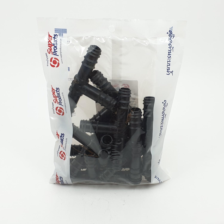Super Products ข้อต่อสามทาง 16 มม. (10ตัว/แพ็ค) TE ดำ