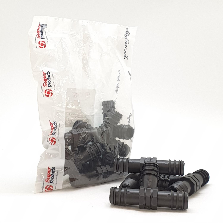 Super Products ข้อต่อสามทาง 25 มม. (10 ตัว / แพ็ค) TE ดำ