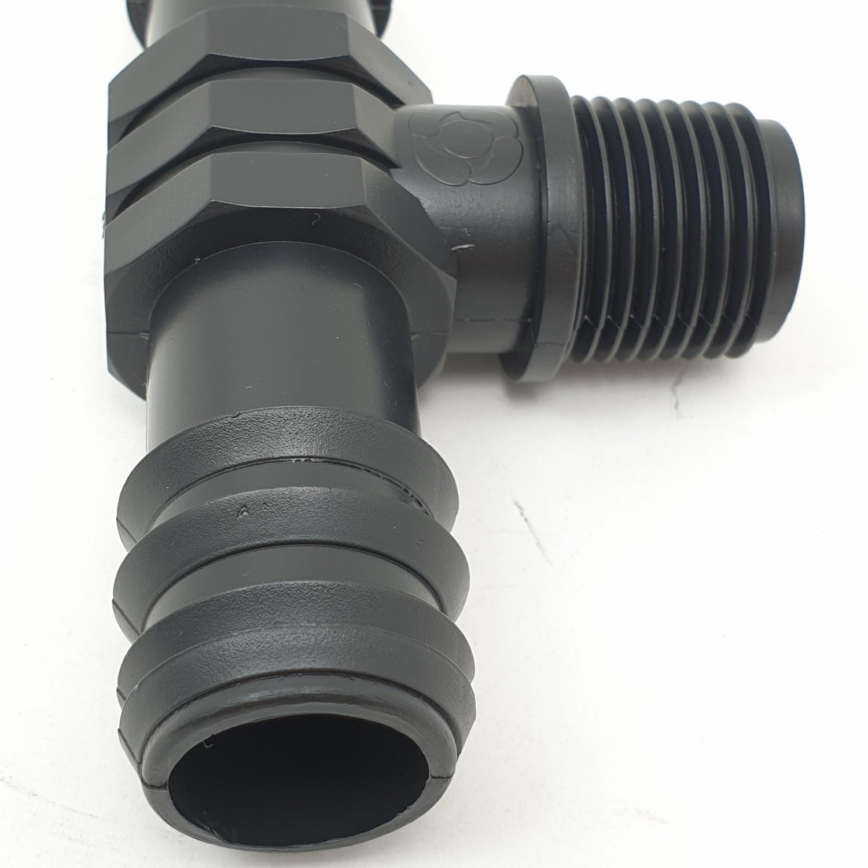 Super Products ข้อต่อสามทางแปลง เกลียวนอก1/2นิ้ว(25มม.) TM ดำ