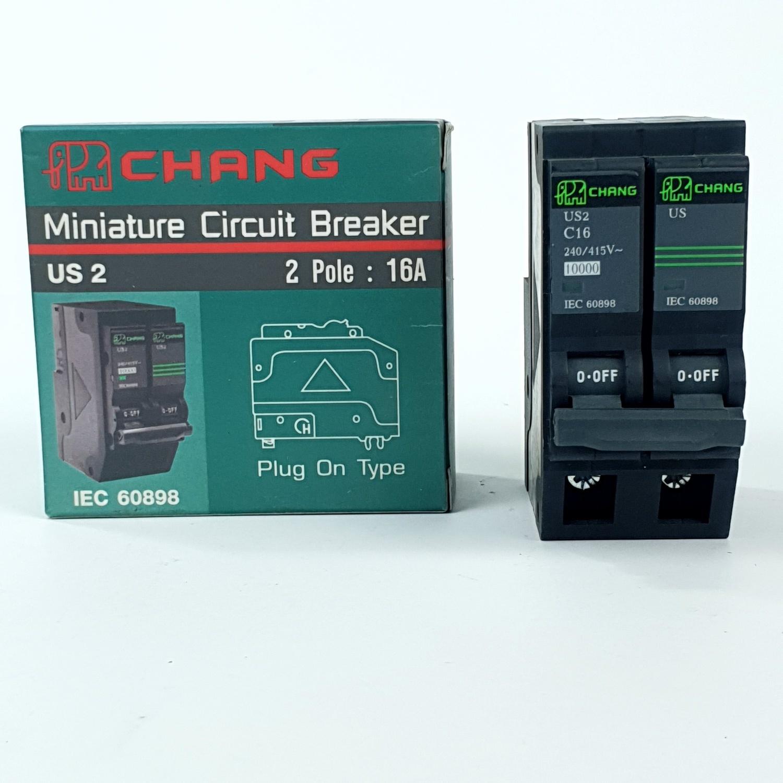 CHANG เมนเบรคเกอร์ CHANG USA 2P 16A ช้าง - สีดำ
