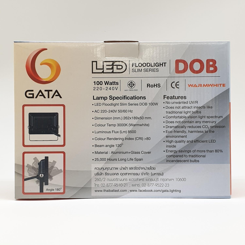 GATA โคมฟลัดไลท์ แอลอีดี  ทรงSlim 100w Warm  สีดำ