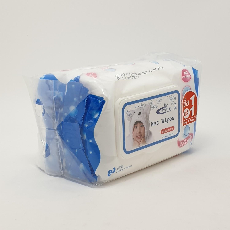 - ผ้าเปียก 80 แผ่น ไม่มีกลิ่น (1แถม1) เฟรชพลัส TS-S-003
