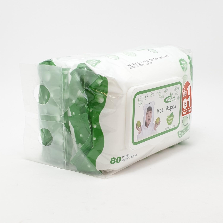 - ผ้าเปียก 80 แผ่นกลิ่นแอปเปิ้ล (1แถม1) เฟรชพลัส TS-S-004