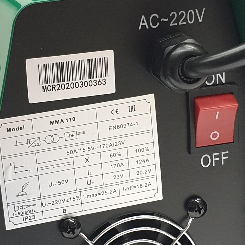 LONGWELL เครื่องเชื่อม 220V. Inverter MC-WELD MMA MODEL 170 สีเขียว