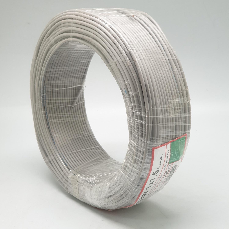 RACER สายไฟ IEC01 THW 1x1.5 Sq.mm100M.สีเทา   -