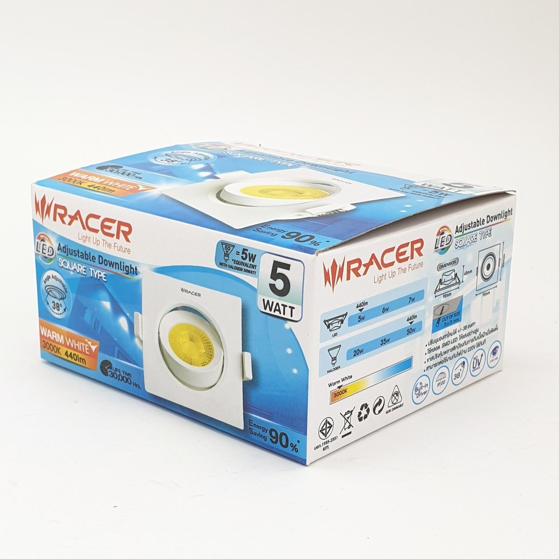 Racer ไฟ LED ปรับระดับได้ 5 วัตต์ แสงเหลือง (เหลี่ยม)  ขาว