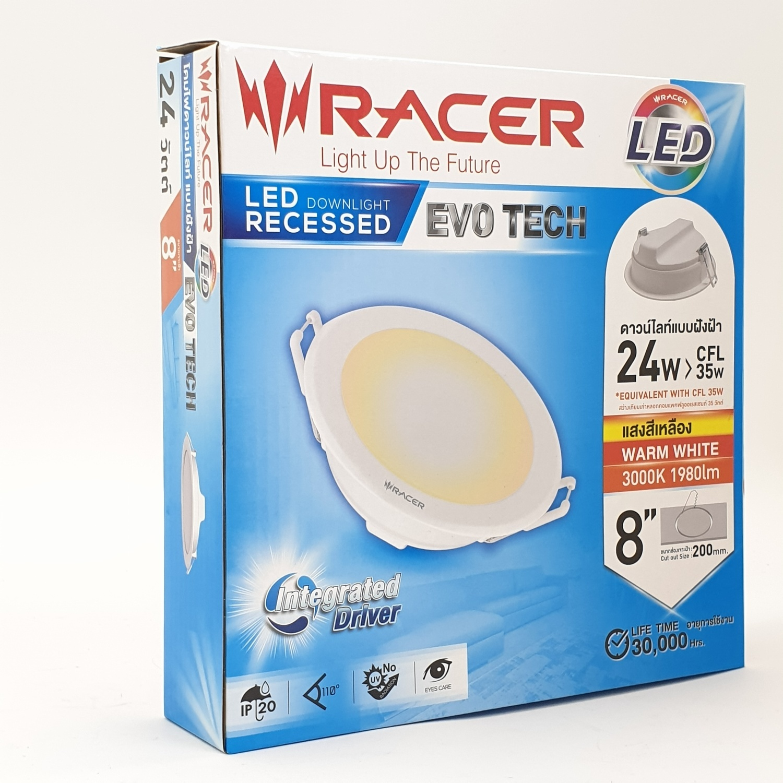 RACER แอลอีดี ดาวน์ไลท์ อีโวเท็ค  24 วัตต์  แสงเหลือง - สีขาว
