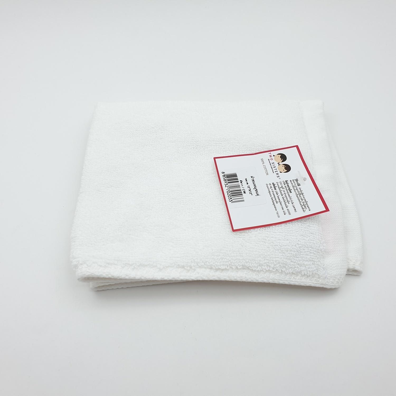 - ผ้าขนหนูขนคู่ 12x12 นิ้ว CW สีขาว