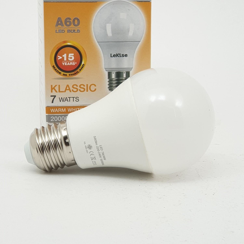 LEKISE หลอดไฟ LED A60 7W.WW KLASSIC  สีเหลือง