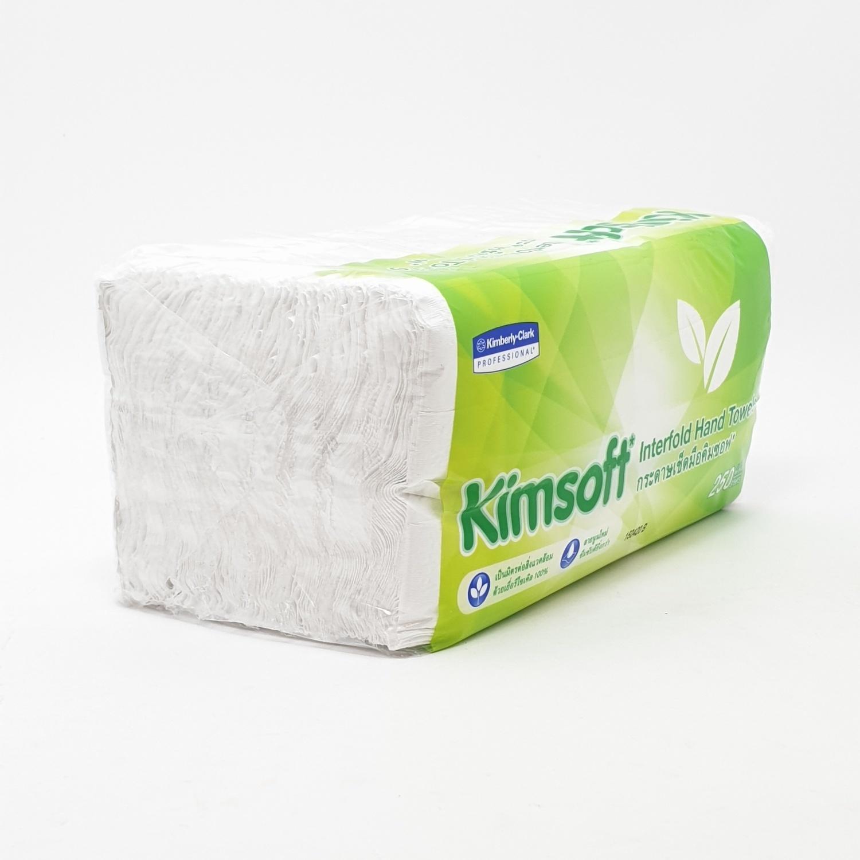 Kimsoft กระดาษเช็ดมือ  ขนาด 207x202 มม (หนา 1 ชั้น) 250 แผ่น สีเขียว