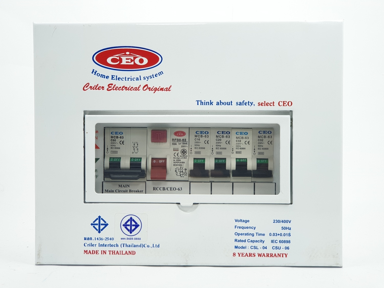 CEO เครื่องตัดไฟฟ้ารุ่น  CSL  63A  4 ช่อง  CEO CSL 4w 63A CEO ขาว