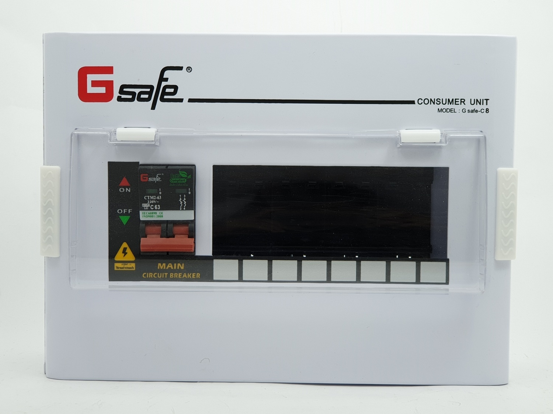 Gsafe ตู้คอนซูเมอร์-เมนเบรกเกอร์ G safe-C8/8ช่อง 63A G safe-C8/8ช่อง 63A สีขาว