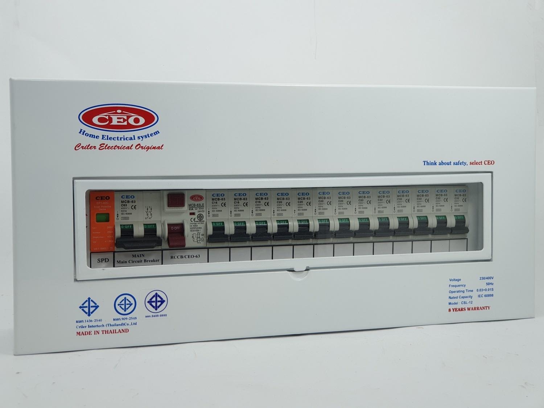 CEO เครื่องตัดไฟฟ้า 63A 13 ช่อง รุ่นป้องกันฟ้าผ่า SPD ขาว