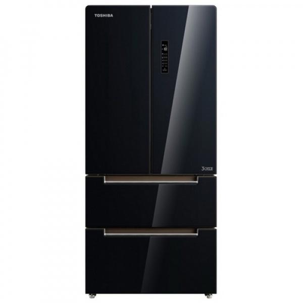 TOSHIBA ตู้เย็น FRENCHDOOR 18.2Q กระจกสีดำ GR-RF532WE-PGT