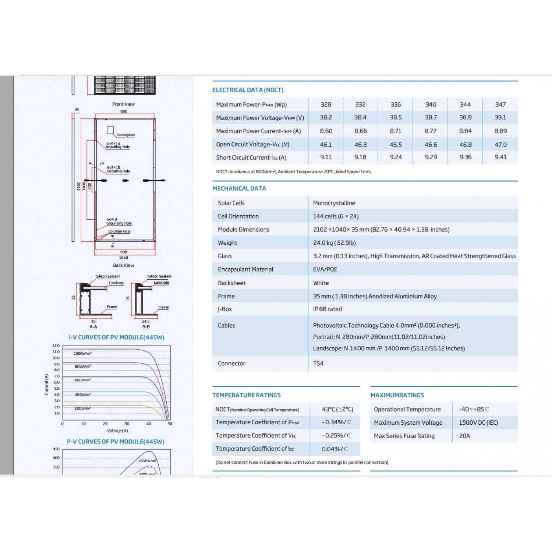Trina แผงโซล่าเซลล์  445W MODULE TSM-DE17M(II)