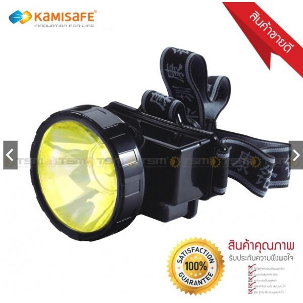 Kamisafe ไฟฉายคาดหัว LED ขนาด 8x10x7.3cm แสงเหลือง KM-163 สีดำ
