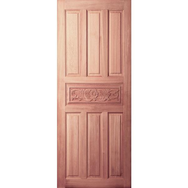BEST ประตูไม้สยาแดงบานทึบ 7ฟักแกะลาย   80x180 ซม.                               GC-32