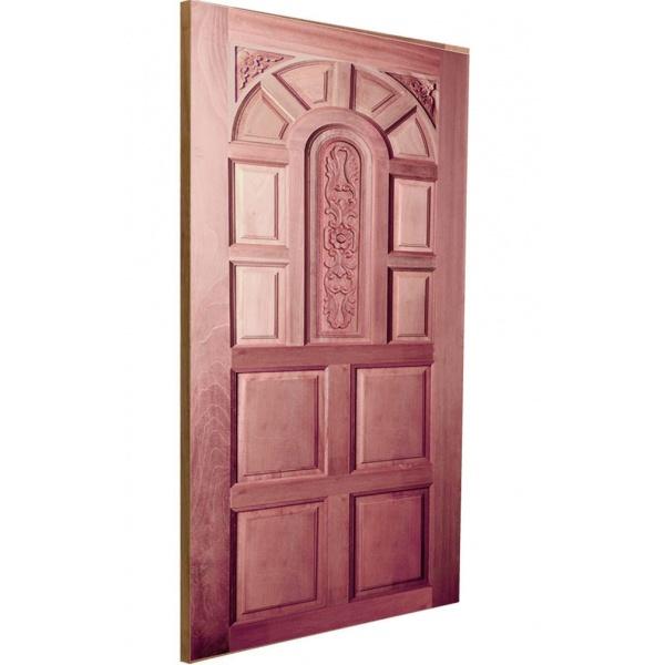 BEST ประตูไม้สยาแดงบานทึบลูกฟักแกะลาย  ขนาด 80x200 cm. GC-71