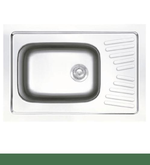 ADVANCE อ่างล้างจาน 1 หลุ่มมีที่พัก พร้อมสะดือ B ท่อน้ำทิ้งแบบย่น   AV9060 MB/C