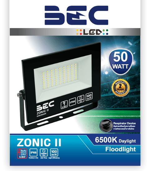BEC โคมฉาย LED ฟลัดไลท์  50W  แสงเดย์ไลท์  ZONIC 50W/6500K