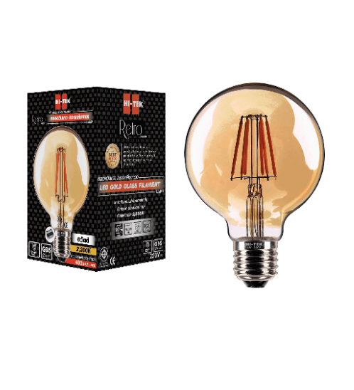 HI-TEK หลอด LED ทรงลูกโลก  6W E27 แสงนวล HLLG95006G ขาว-เหลือง