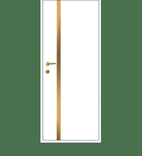 LEOWOOD ประตู iDoor Modish Metal Line เส้นกลาง/สีทองแดง 1 เส้น ขนาด 80x200ซม. สีขาวมุก