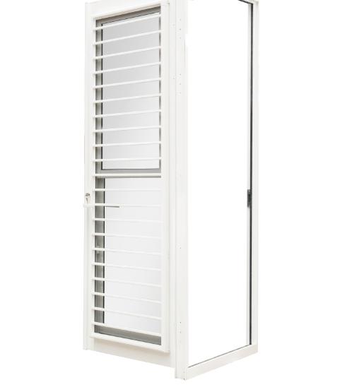 SankyoAlumi ประตูอลูมิเนียมบานเปิด J-Trust (Kitchen Door) ขนาด  90x205ซม. พร้อมมุ้ง   JD10-VK0920-W5G สีขาว