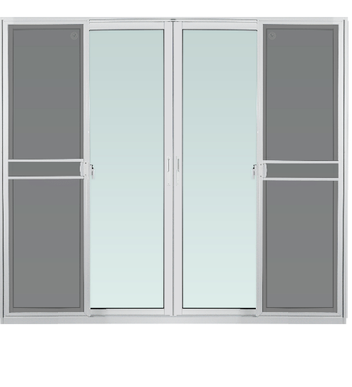 TRUSTAND (EZY WINDOW) ประตูอะลูมิเนียมบานเลื่อนพร้อมมุ้งลวด ขนาด 240x205ซม. FSSF (ENZO)  สีขาว