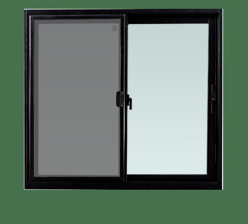 TRUSTAND (EZY WINDOW) หน้าต่างอะลูมิเนียมบานเลื่อนพร้อมมุ้งลวด ขนาด 120x110ซม. SS (ENZO)  สีดำ
