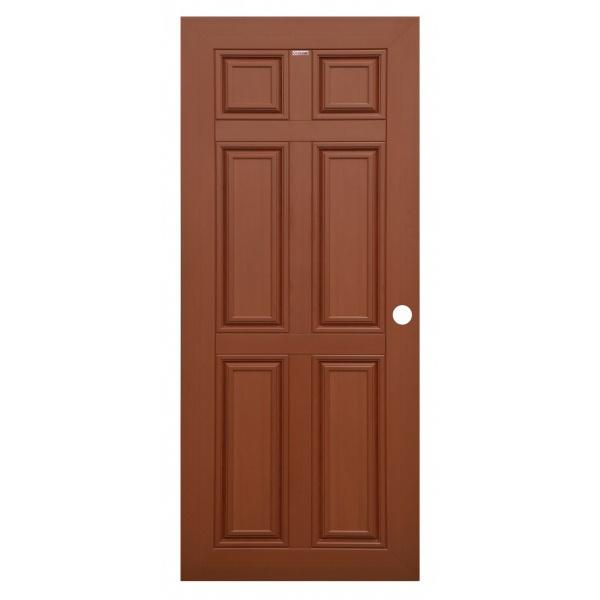 CHAMP ประตู WPC 6 ฟัก MW1 80cmx200cm. สีโอ๊คแดง เจาะ CHAMP WPC