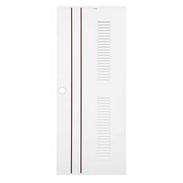 CHAMP  ประตูยูพีวีซี เซาะร่องน้ำตาลพร้อมเกล็ดข้าง ขนาด 80x180ซม.  IDEA-7 สีขาว