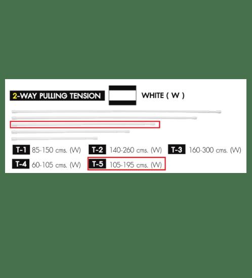 WSP ราวผ้าม่าน 105-195 ซม. T-5 ขาว