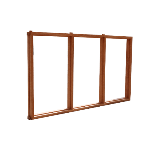 MAZTERDOOR วงกบหน้าต่างไม้3ช่อง ขนาด 120x150ซม.