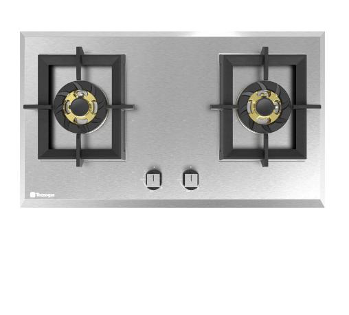 TECNOGAS เตาแก๊สแบบฝังหน้าสเตนเลส 2 หัวเตา HC762TTS-LJ สแตนเลส