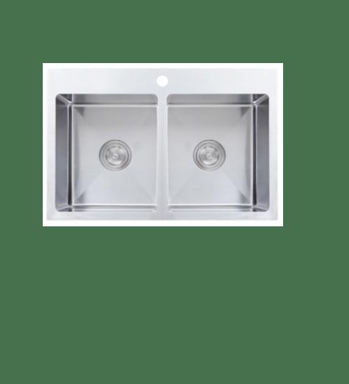 AXIA อ่างล้างจาน 2 หลุมไม่มีที่พัก TRITON 8350 สีโครเมี่ยม