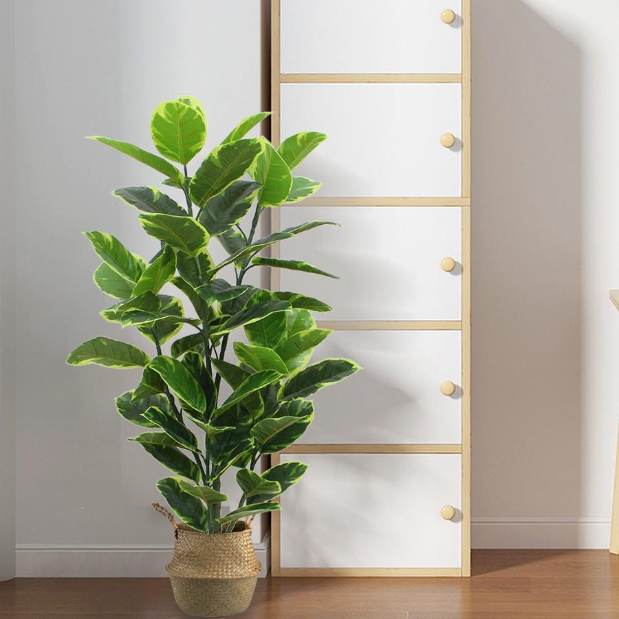 Tree O ต้นยางอินเดียด่างประดิษฐ์ สูง 120 ซม. 55LVS  พร้อมกระถาง JWS2958 สีเขียว