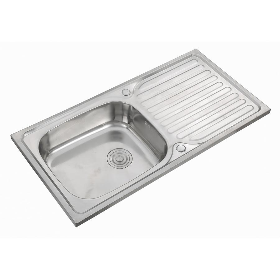 CROWN  อ่างล้างจาน 1 หลุมมีที่พักขอบยก ขนาด 100x50x18 ซม. D10050XL