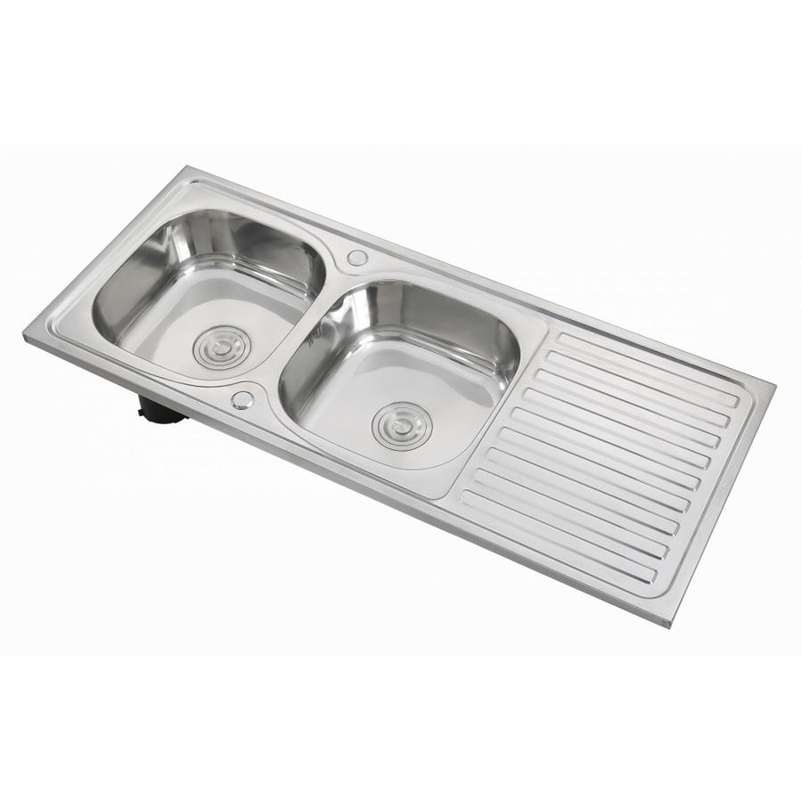 CROWN อ่างล้างจาน 2 หลุมมีที่พักขอบยก ขนาด 120x50x18.5 ซม. SS12050A