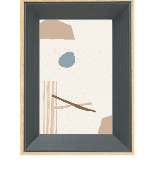 COZY กรอบรูป ขนาด A3  โมเดิร์น สีDark grey with wooden edge
