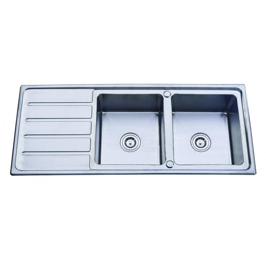 CLOSE อ่างล้างจาน 2 หลุมมีที่พัก SUS304 120x50x18 ซม. YTD12050K-PO